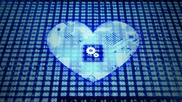 Cover Image for Circuit Board Heart with Gears on Hex