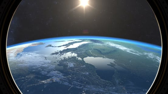 Thumbnail for Earth Sunset, Spacewalk View From Space Station