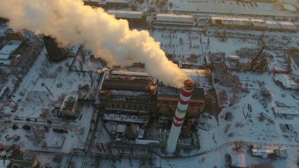 Thumbnail for High Hot Gas Tower with White Smoke at Sunset in Winter
