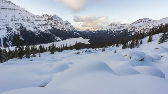 Thumbnail for Clouds Flowing Above Peyto Lake on a Snowy Winter Day