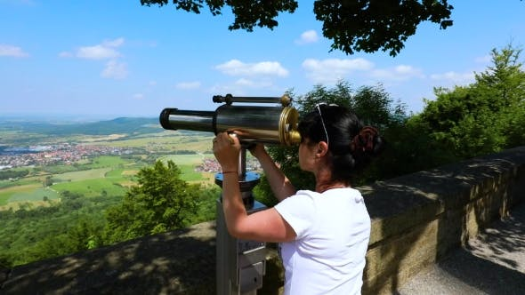 Thumbnail for Woman Tourist on the Observation Deck, Viewing Platform Hohenzollern Castle, Germany
