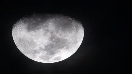 Waxing Gibbous Moonface Closeup