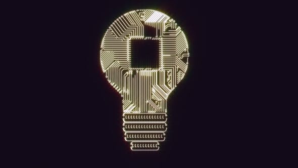 Thumbnail for Light Bulb Idea Icon with Gears with Circuit Board Inside