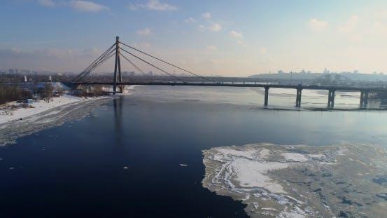 Thumbnail for Landscape with Suspension Moscow Bridge Across the Dnieper River, Obolon, Kiev, Ukraine