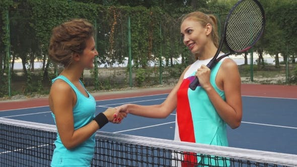 Thumbnail for Two Girls Shaking Hands Before Playing Tennis