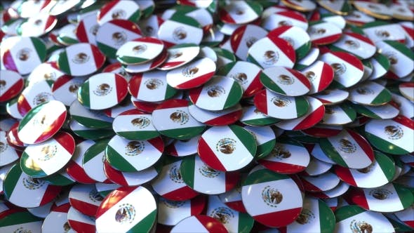 Thumbnail for Pile of Badges Featuring Flags of Mexico