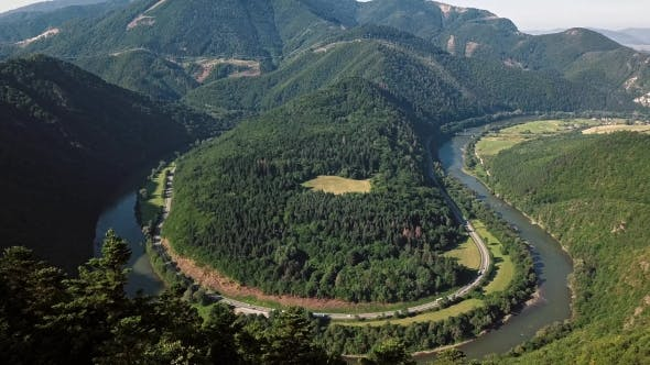 Aerial of Vag River Meander, Slovakia