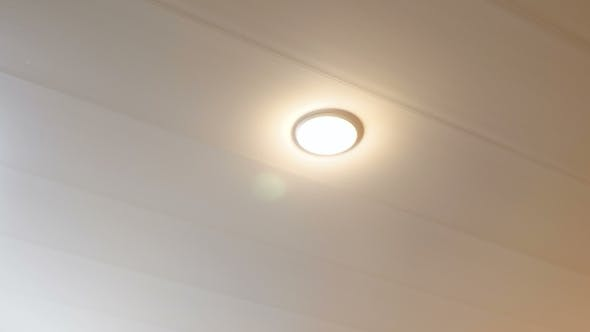 Thumbnail for Shutdown Energy Saving Lamp on the Ceiling in the Room