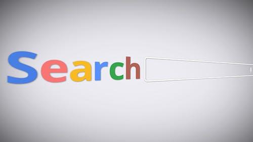 Suchmaschine mit Schreiben von Suchwörtern auf einem weißen Hintergrund