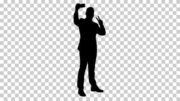 Silhouette Business man taking selfie, Alpha Channel