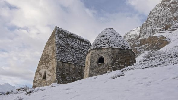 Thumbnail for Historical Grave Crypts in the Mountains in Winter