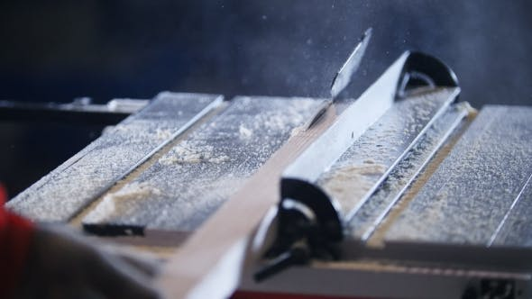 Thumbnail for Wooden Board Comes To Circular Saw,