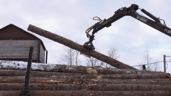 Thumbnail for Truck Loader Crane Claw Picks Up Lumber Cutted Trees