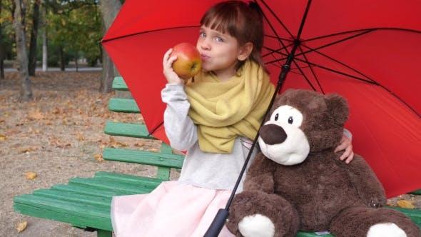 Thumbnail for Kind sitzt auf Holzbank in der Nähe von einem Teddybär unter einem roten Regenschirm und isst groß rot im Park