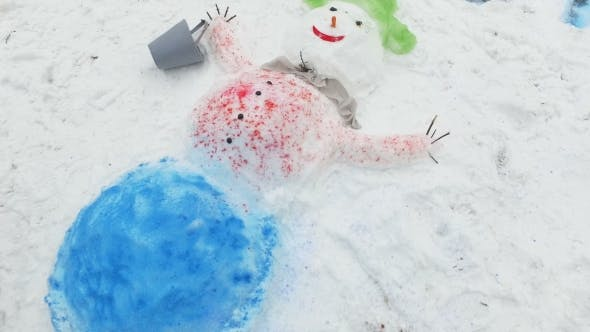Thumbnail for Snowman with a Red Nose Stands in the Park