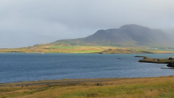 Thumbnail for Calm Landscape with Water of Whale-fjord in Sunny Day in Iceland
