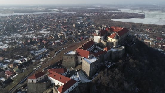 Thumbnail for Beautiful Panoramic Aerial View To Palanok Castle at Sunset and the City of Mukachevo