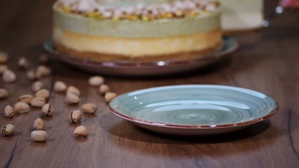 Pistachio Mousse Cake, Cheesecake on Plate