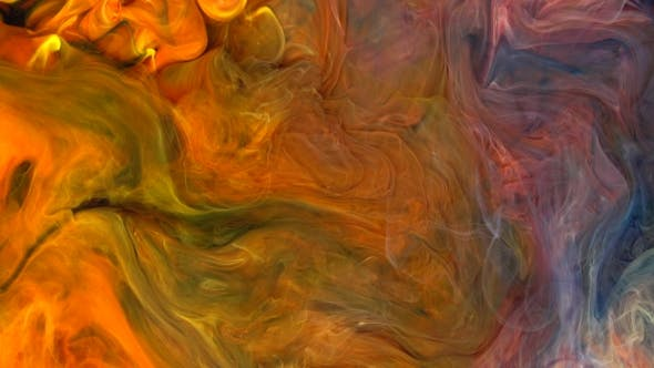 Thumbnail for Footage. Abstract Flame Colorful Paint Ink Diffusion Psychedelic.