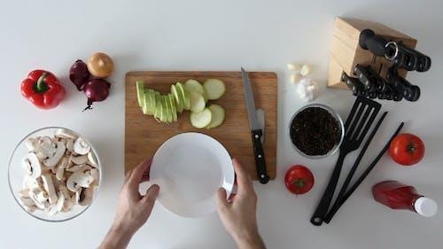 Cutting Squash in the Kitchen