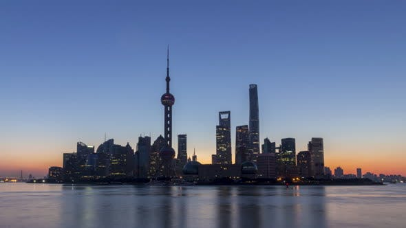 Thumbnail for Panoramic Shanghai Skyline at Sunrise. Lujiazui District. China