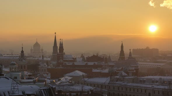 Thumbnail for Moscow Kremlin Towers and Cityscape at Winter Sunset. Russia