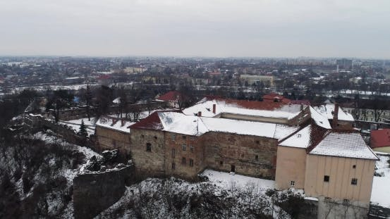 Thumbnail for Aerial Beatiful Grimly View on Uzhhorod Castle in Winter.