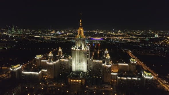 Thumbnail for Moscow State University at Night. Russia. Aerial view