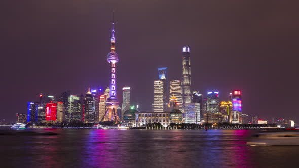 Thumbnail for Illuminated Shanghai Skyline at Night. Lujiazui District