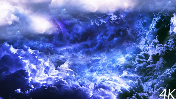 Thumbnail for Flying Through Abstract Blue and Violet Clouds to Mysterious Planet and Big Star