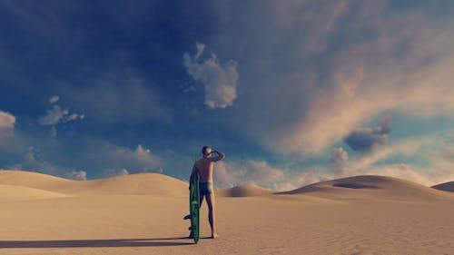Surfer and Desert