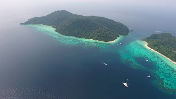 Thumbnail for Aerial Panorama View of Beach, Corals and Sea