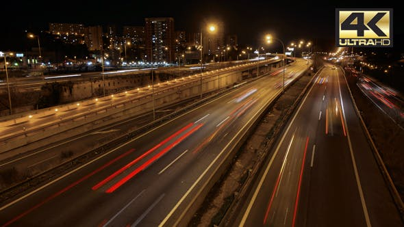 Thumbnail for Highway Traffic Cars Driving Time Lapse at Multiple Lane Speedway
