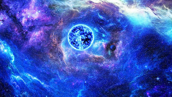 Thumbnail for Flying Through Abstract Colorful Nebulae in Space to the Big Blue Star and Planets