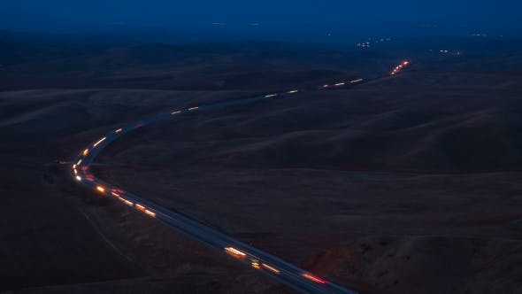 Cover Image for Night View  Highway of Mountain in Texas, USA