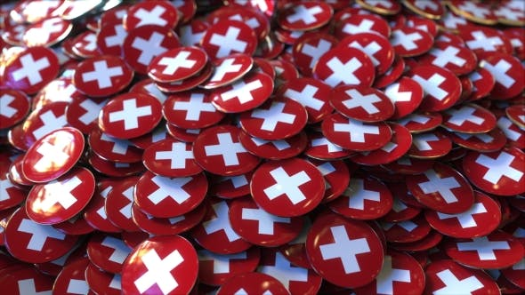 Thumbnail for Pile of Badges Featuring Flags of Switzerland