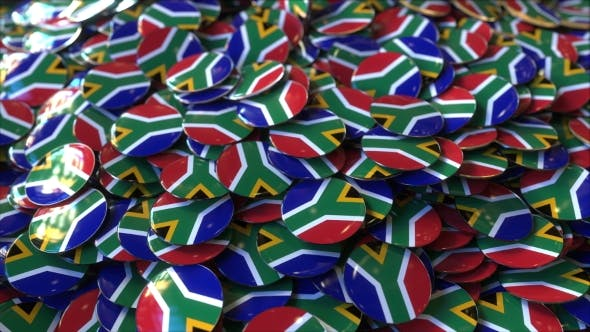 Thumbnail for Pile of Badges Featuring Flags of South Africa