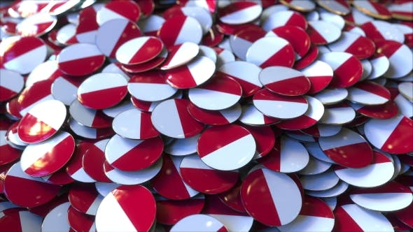 Thumbnail for Pile of Badges Featuring Flags of Poland or Monaco