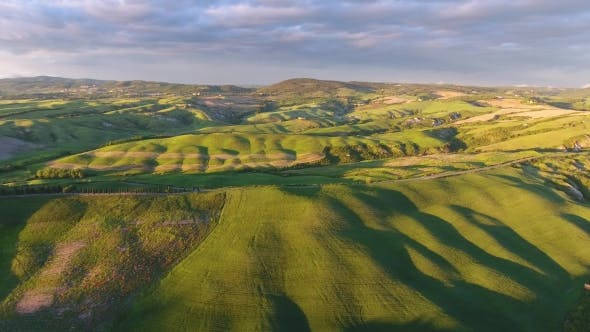 Thumbnail for Tuscany Aerial Landscape at Evening in Italy