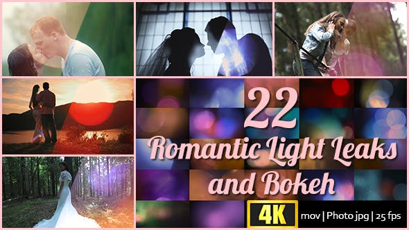 22 4K Romantic Light Leaks and Bokeh