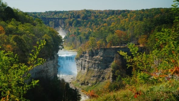 Thumbnail for A Beautiful Waterfall, a River Flowing Through a Deep Gorge. Letchworth State Park