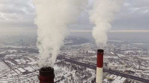Coal Power Plant Emitting Carbon Dioxide Pollution From Smokestacks