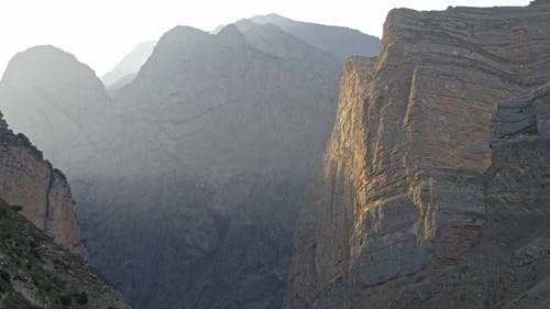 Sunlit Cliffs of Bizarre Shape