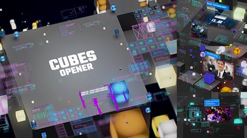 TV Broadcast Cubes Opener / Modern HUD and UI Intro / YouTube Technology Reviewers