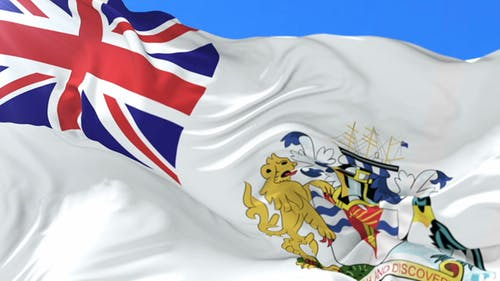 Flag of British Antarctic Territory Waving