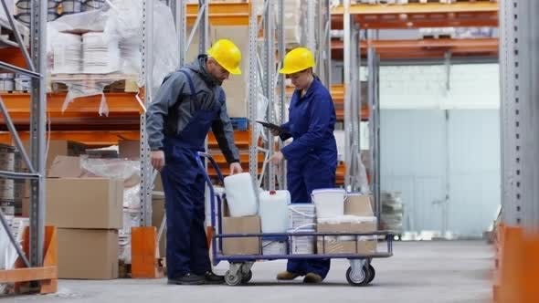 Thumbnail for Man and Woman Working in Warehouse