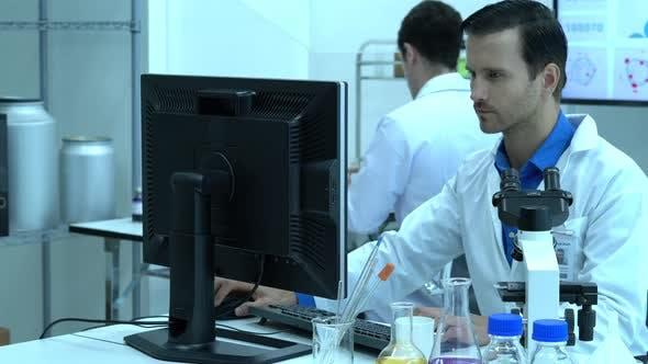 Scientist male working