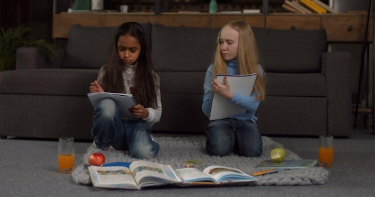 Lazy School Girls Tired of Doing Homework