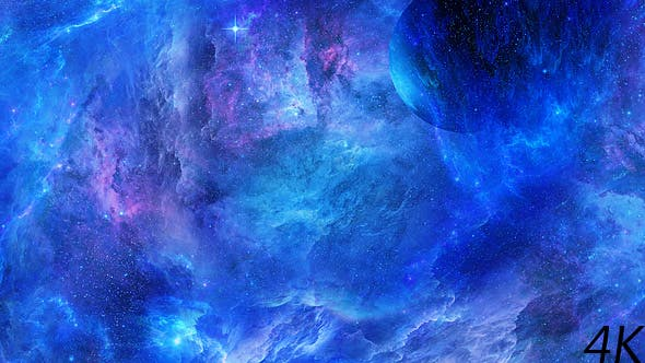 Travel Through Abstract Space Nebulae with Planets