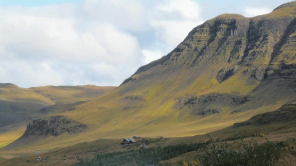 Thumbnail for Small Alone Villa near Foot of Huge Mountain, Little Farm in Icelandic Countryside